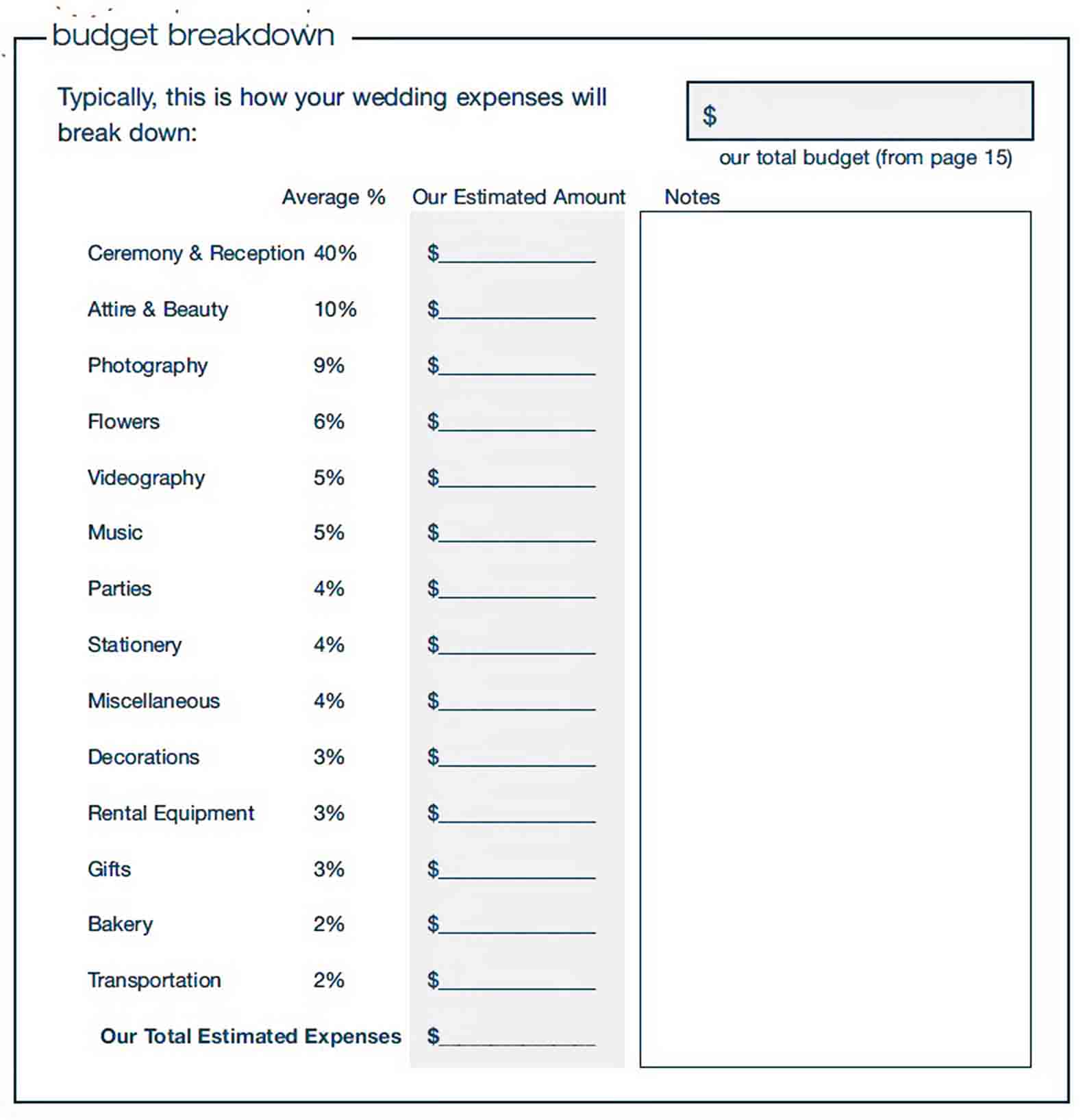 Wedding Budget Calculator sample