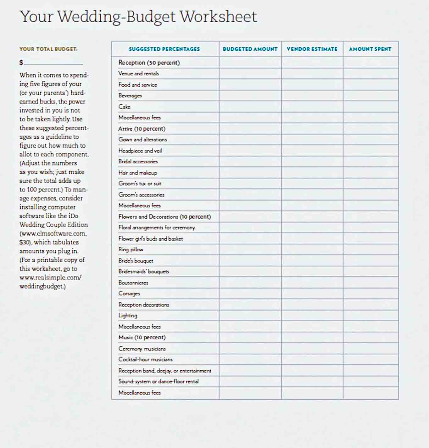 Wedding Budget Worksheet sample
