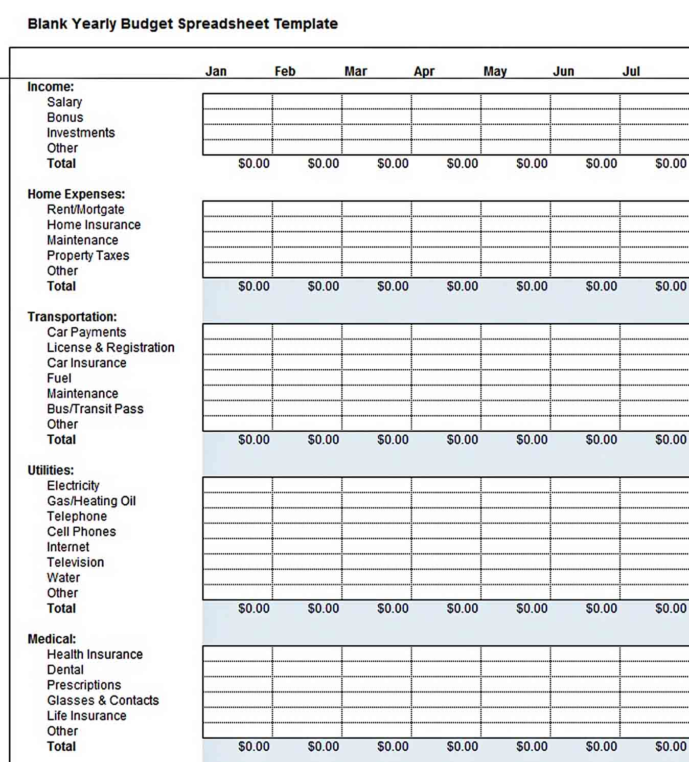 blank yearly budget spreadsheet template sample