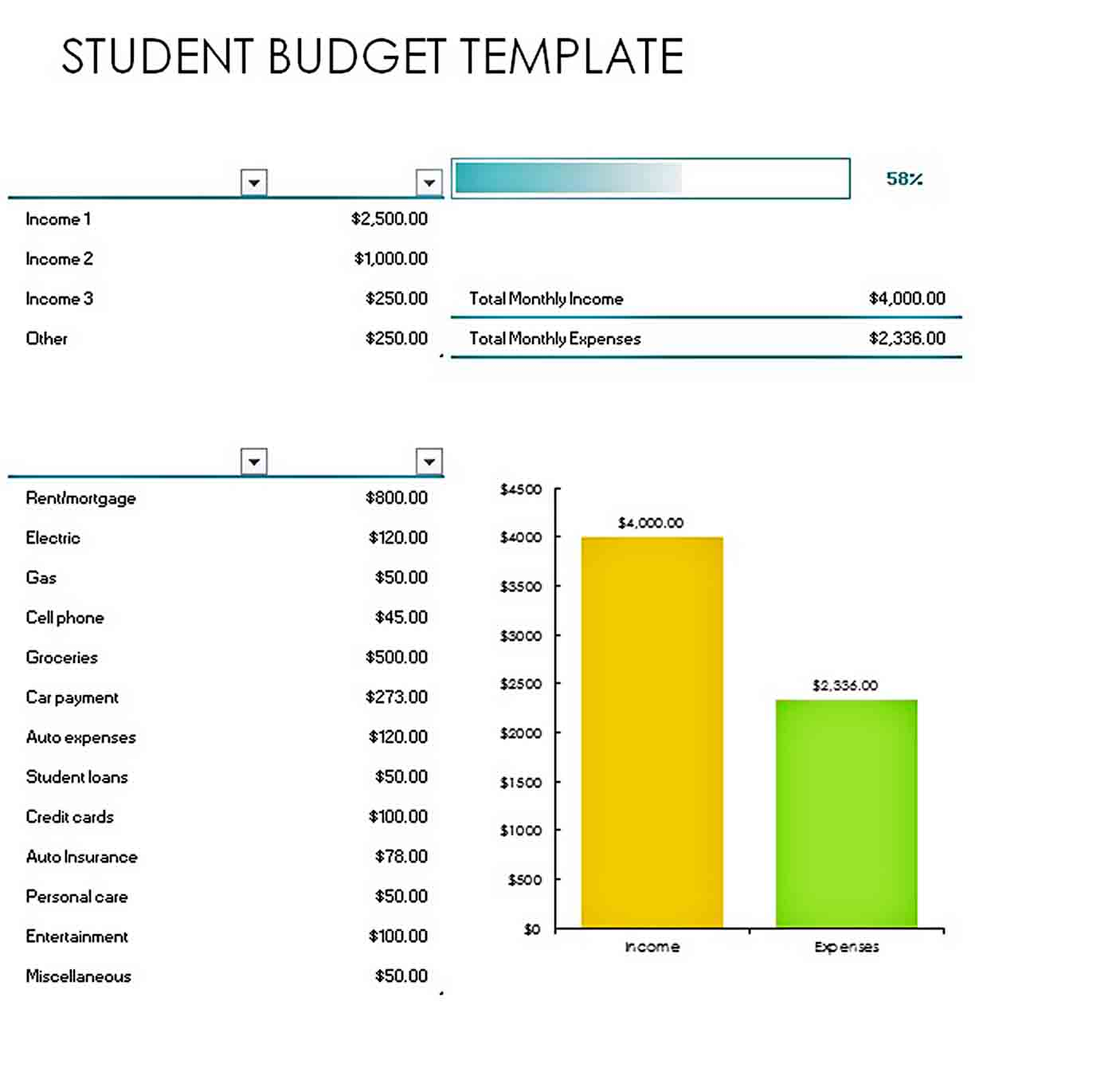 example student budget template sample
