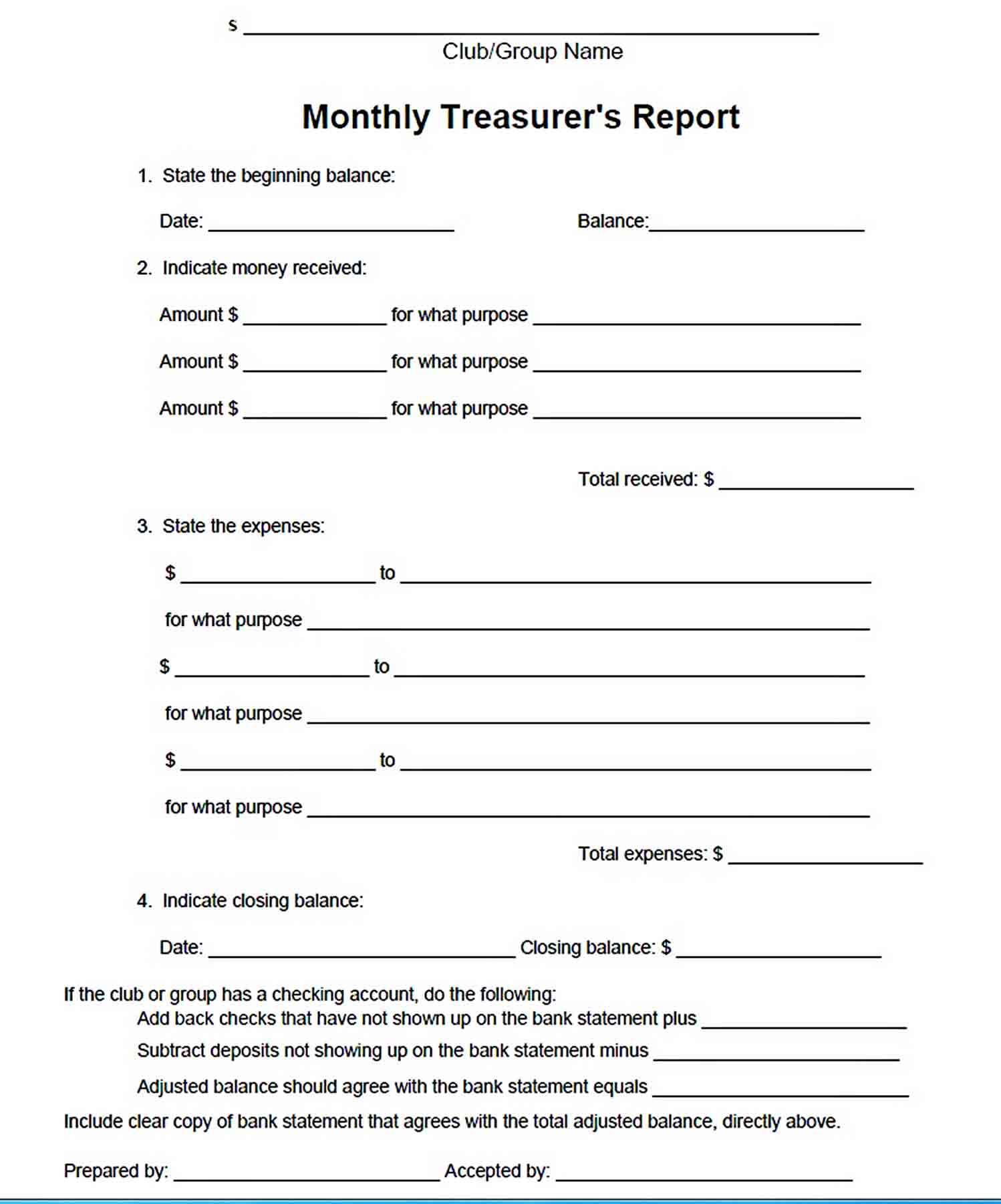 Templates Clubs Monthly Treasurers Report