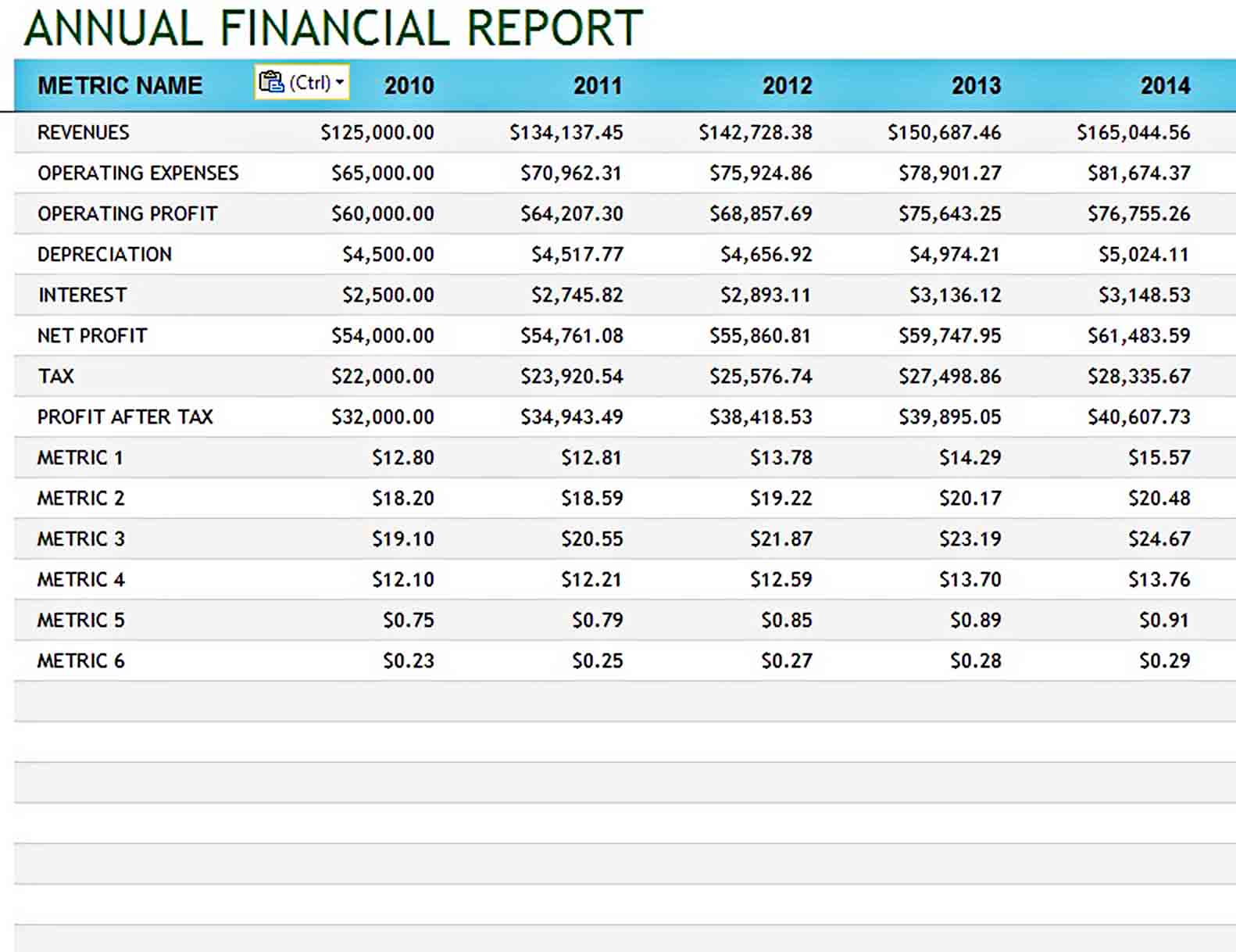 Templates Company and Financial Annual
