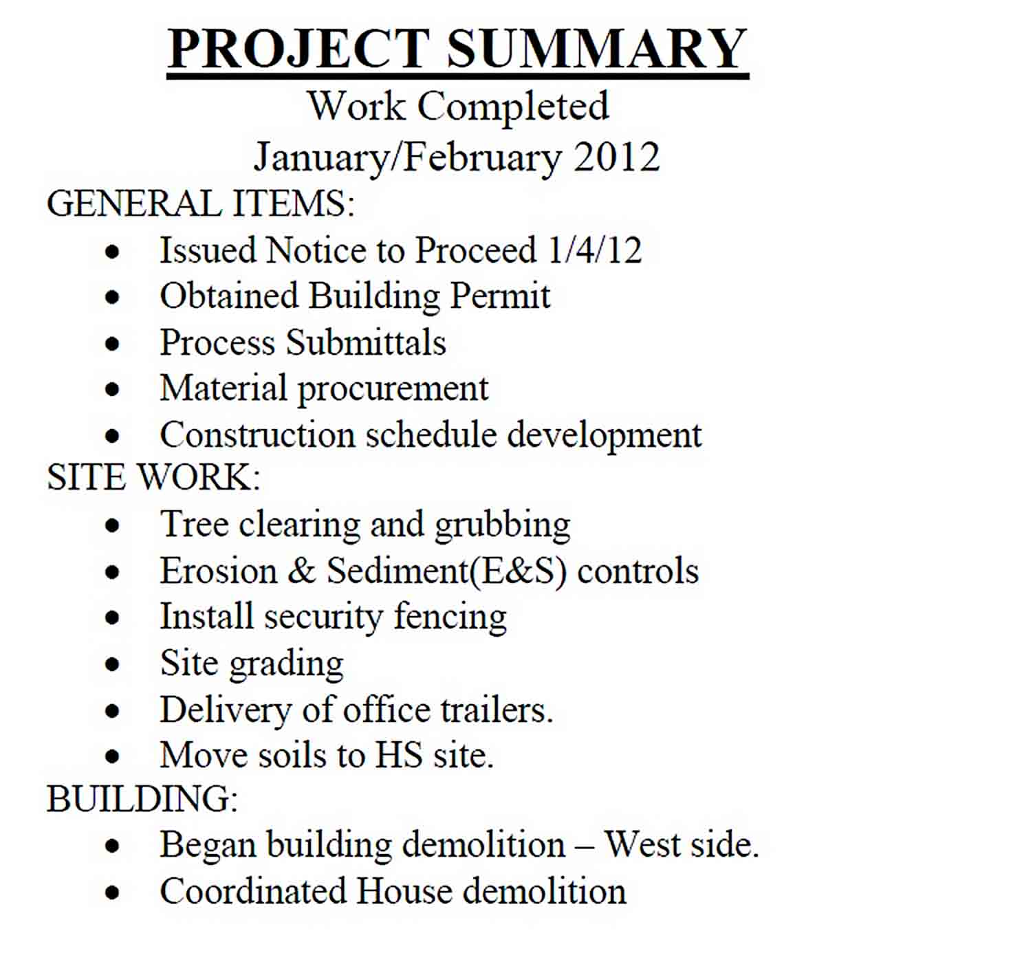 Templates Construction Monthly Progress Report