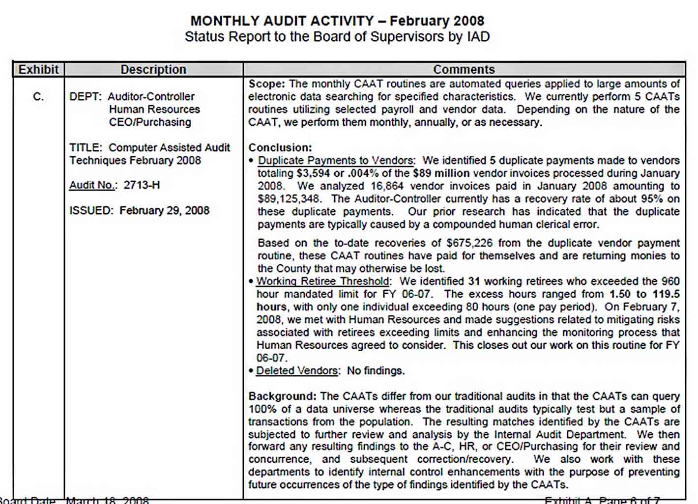 Templates Feb Monthly Audit Report