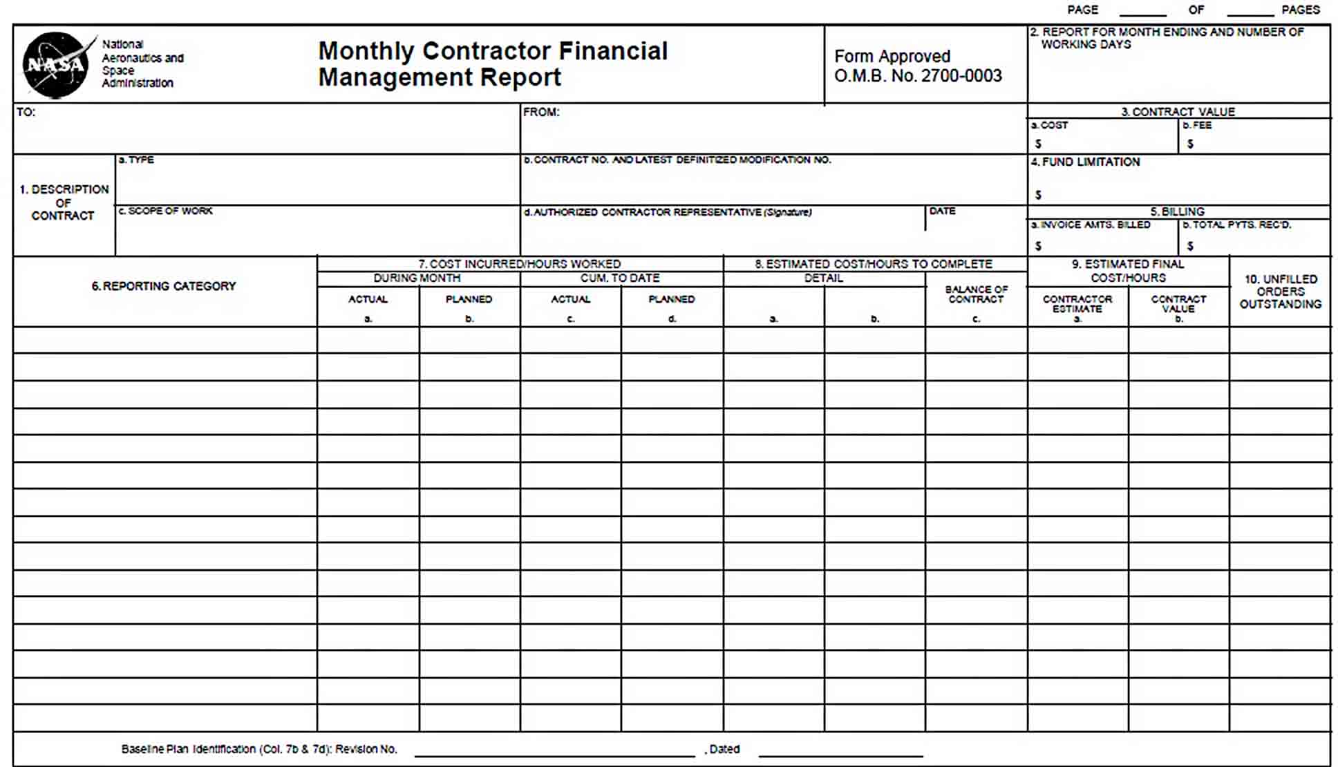 Templates Financial Management Report