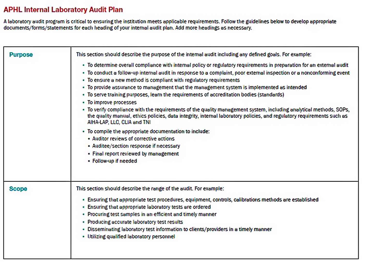 Templates Laboratory Internal Audit Plan