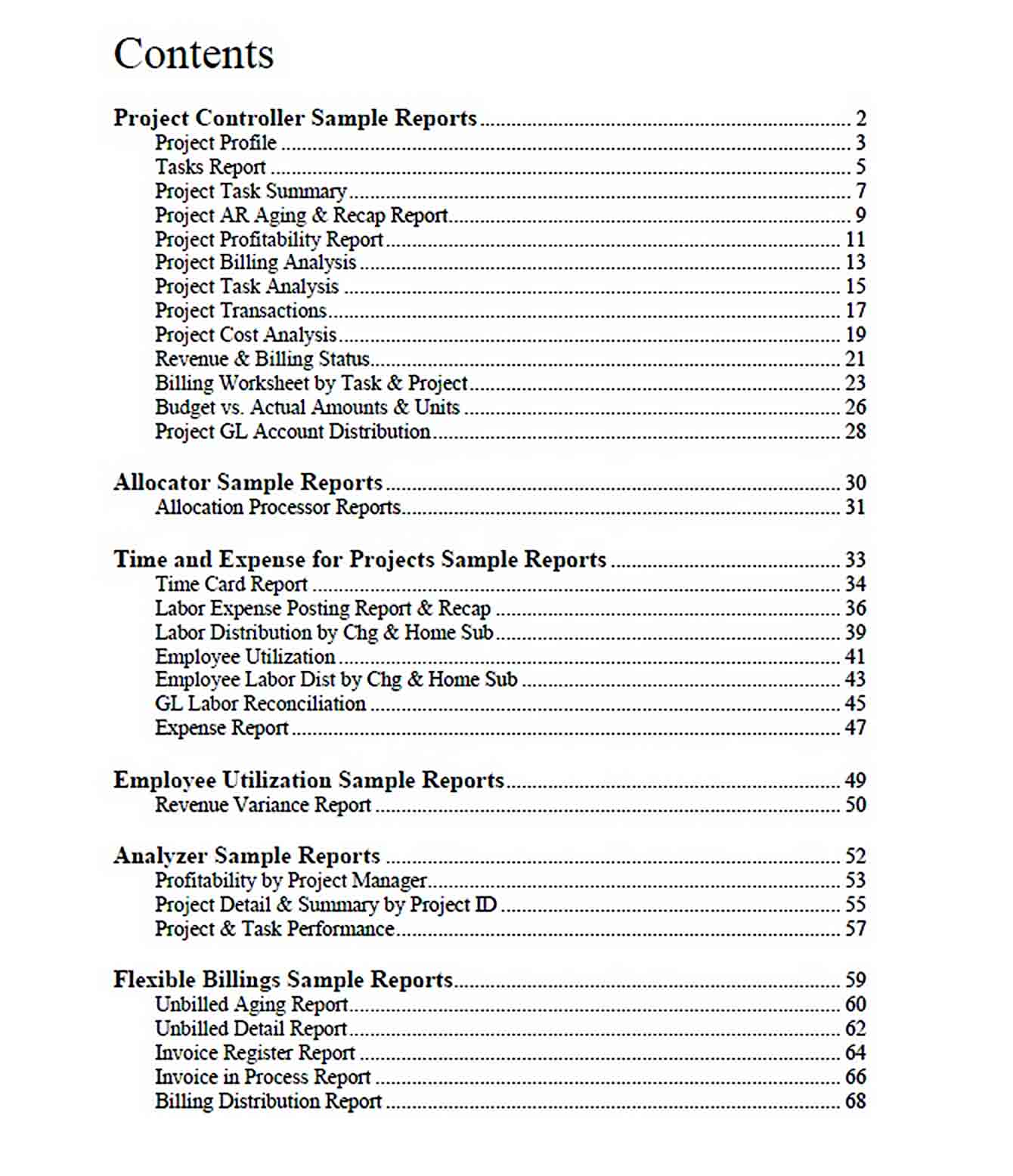Templates Management Report for Project Accounting
