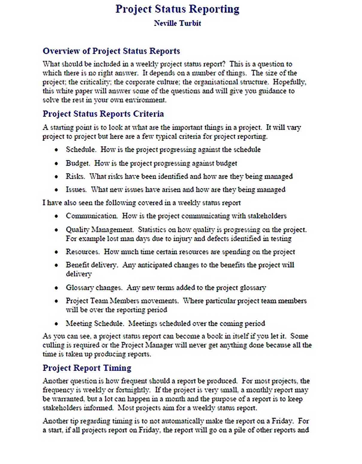 Templates PDF Format Project Status Reporting