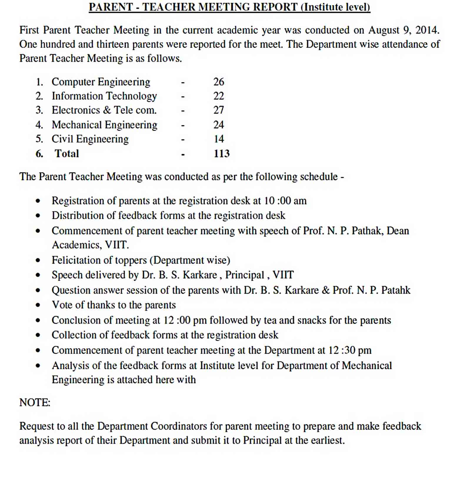 Templates Parent Teacher Meeting Report