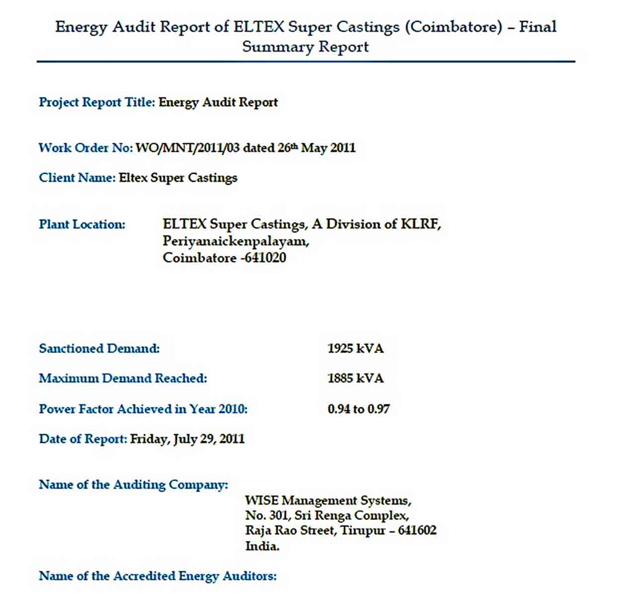Templates Power Quality Audit Report