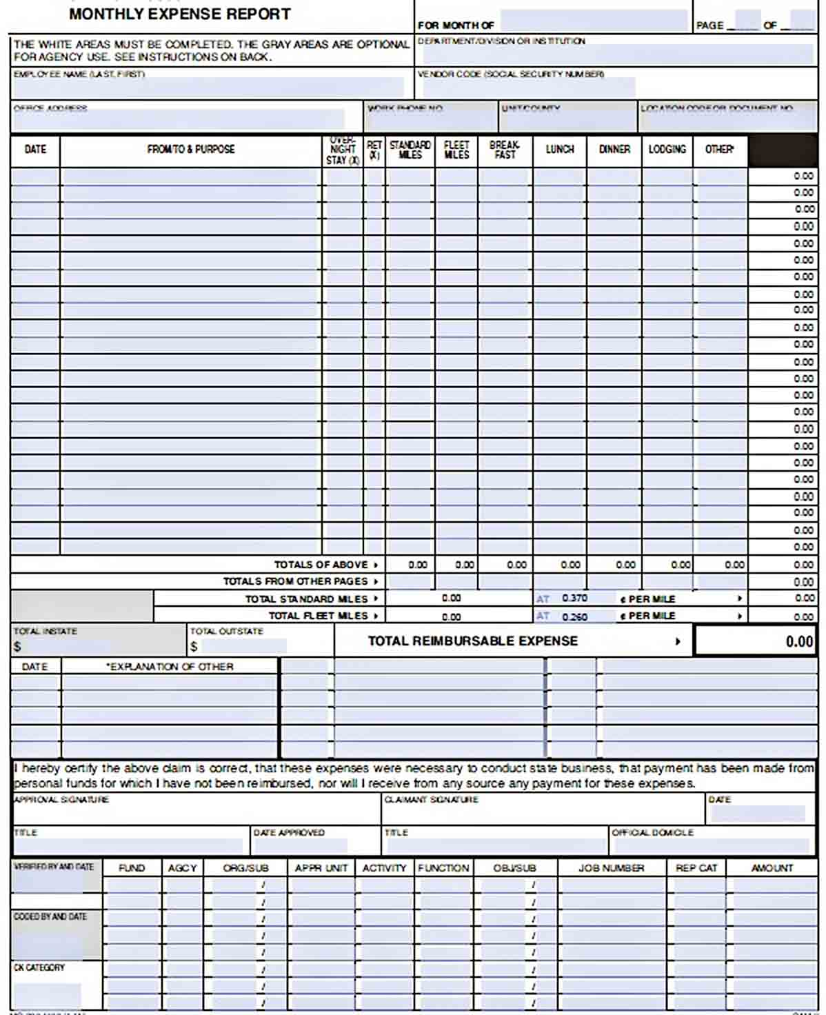 Templates Sample Monthly Expense Report