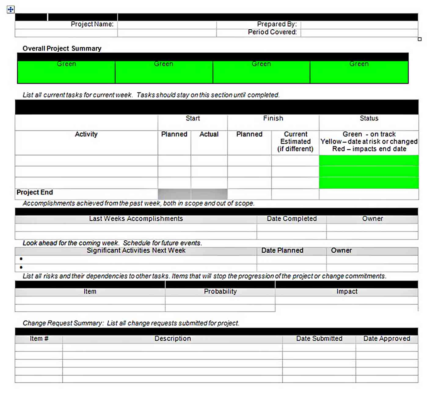 Templates Status Report Doc Format Download