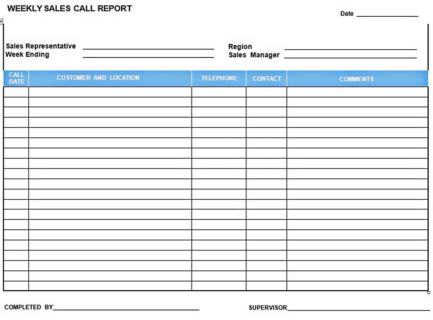 Templates Weekly Sales Call Report