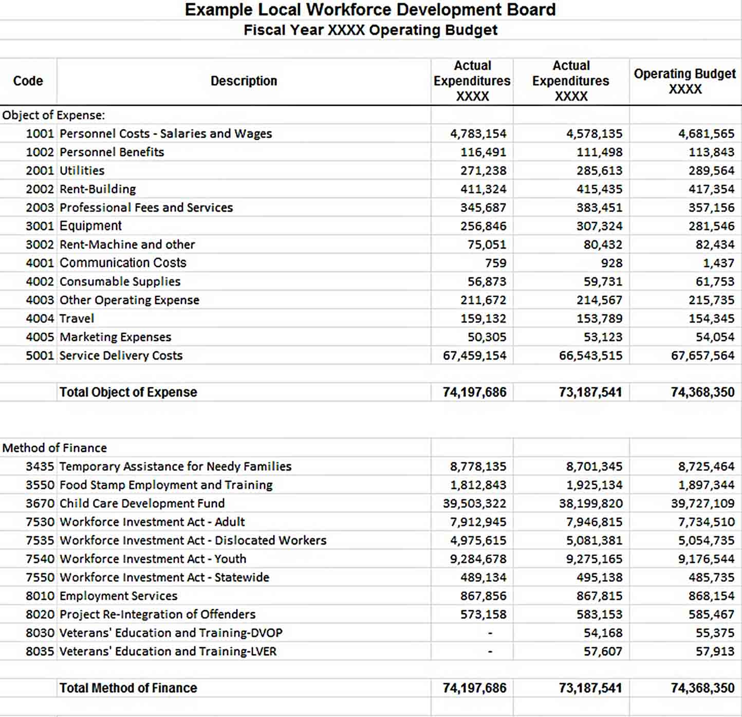 Annual Operating Budget Template sample 1