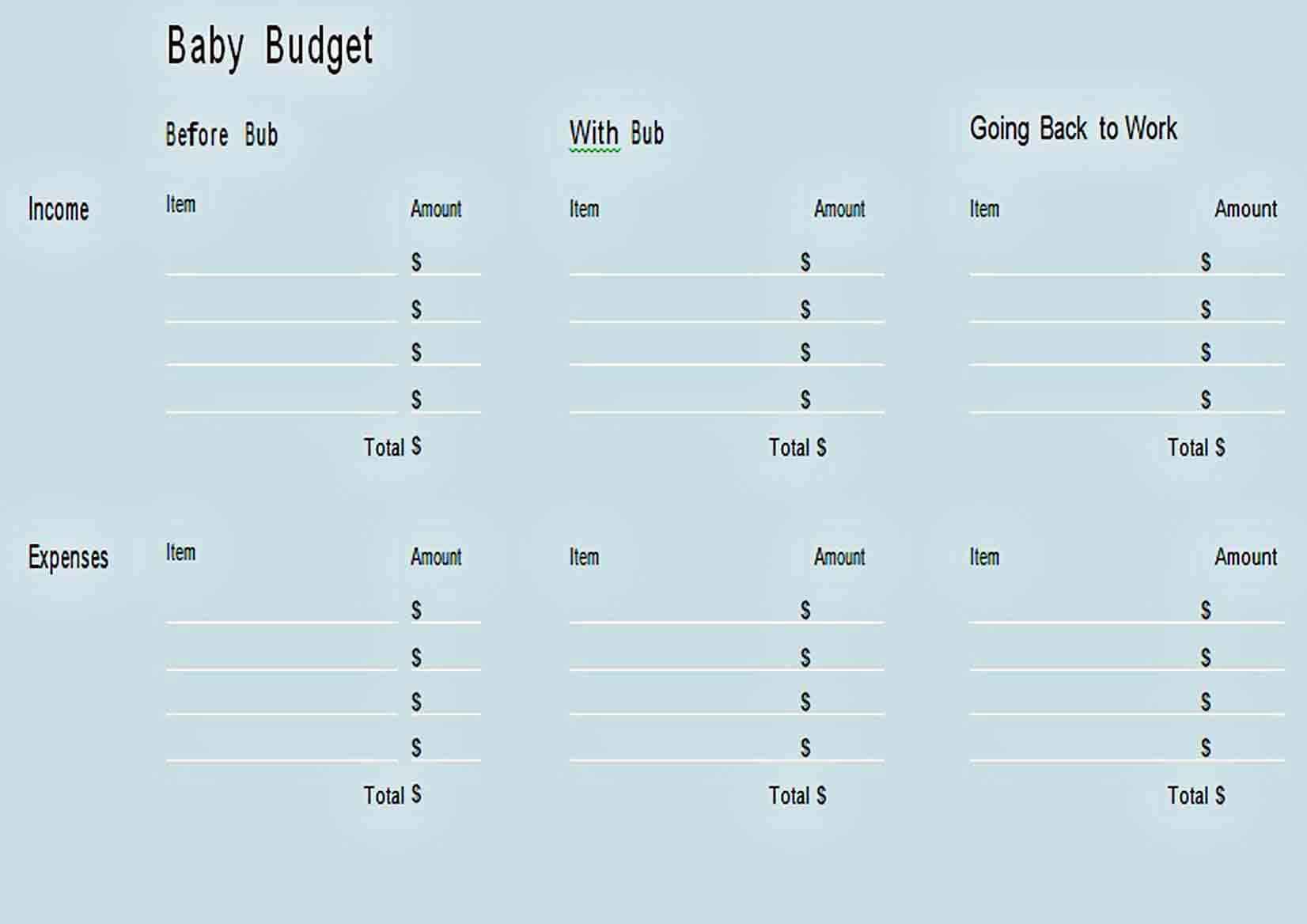 Basic Baby Budget Template sample
