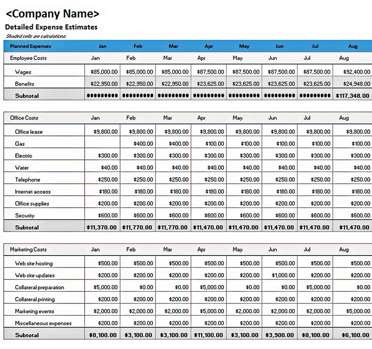 Business Expense Budget Template Excel sample