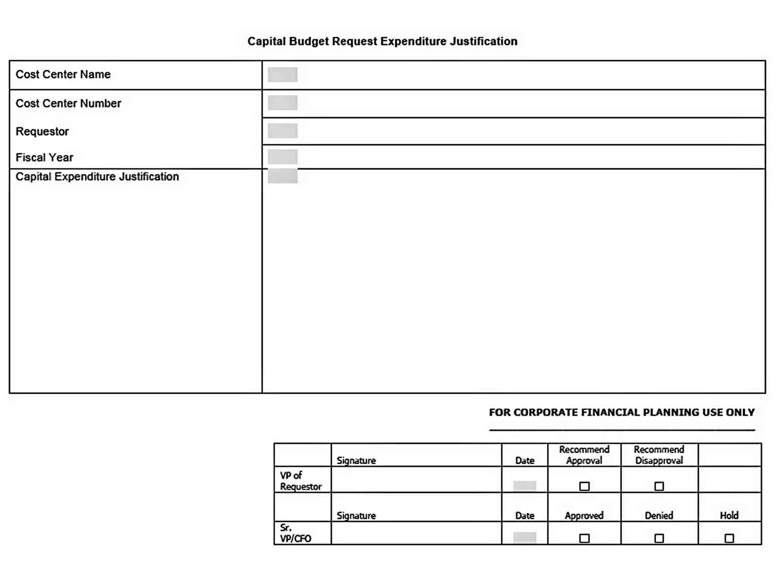 Capital Budget Request Expenditure Template Free Download sample