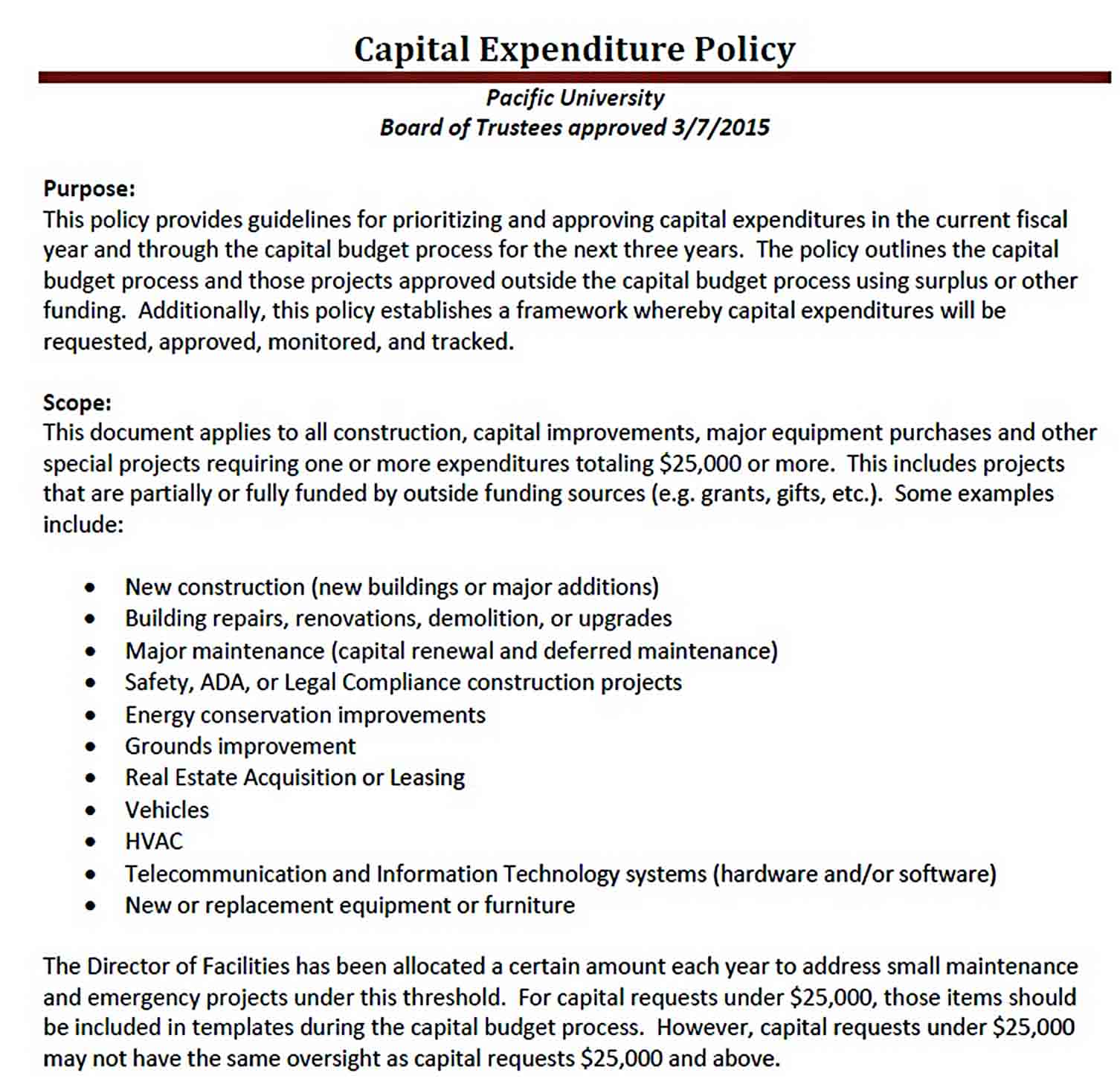 Capital Expenditure Budget Policy PDF sample