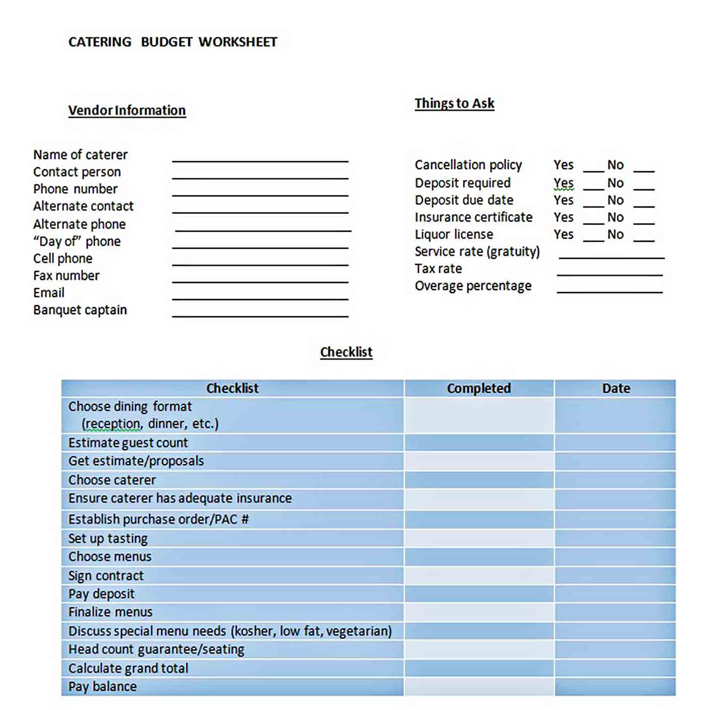 Catering Budget Worksheet sample