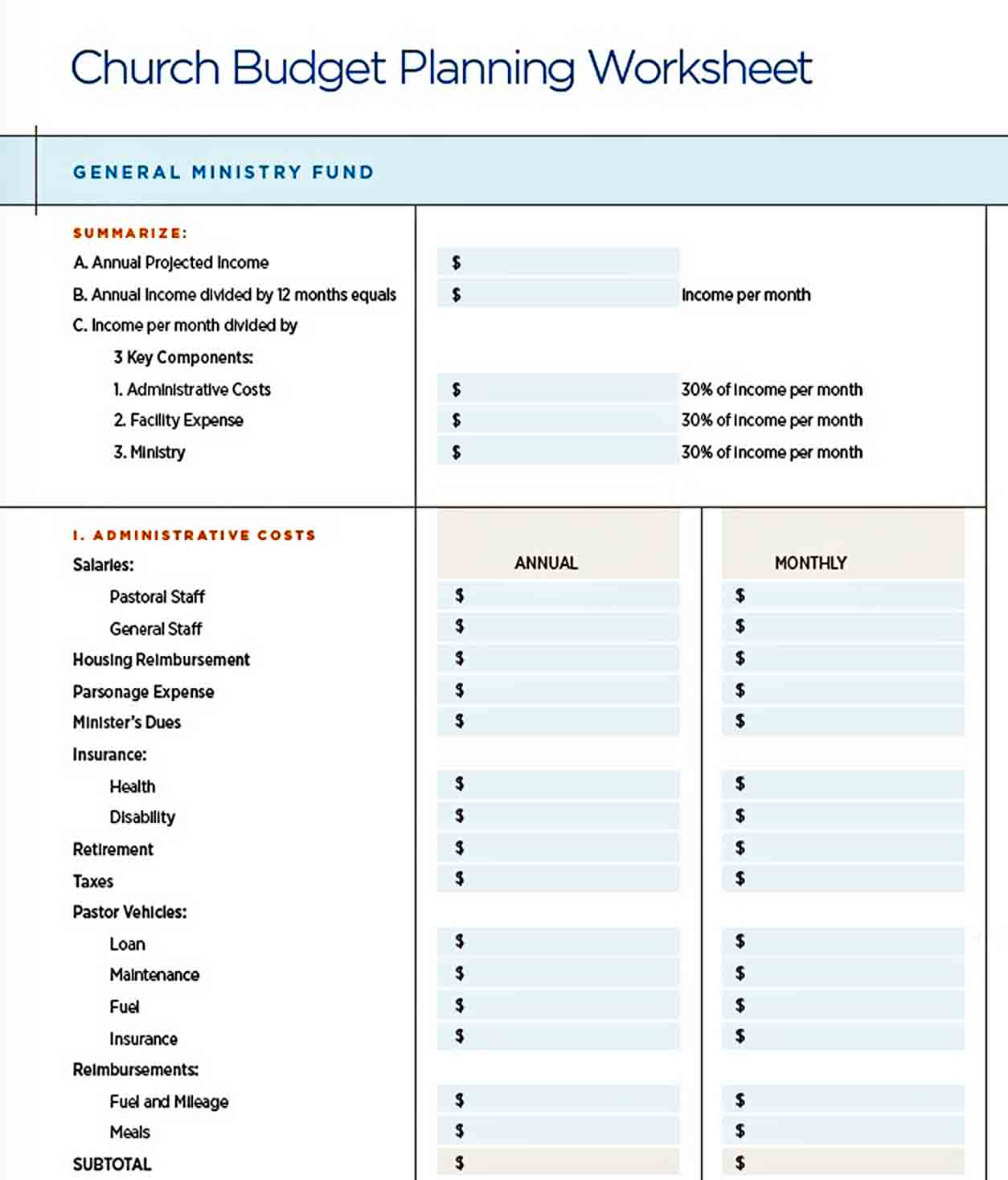 Catholic Church Budget Planning Template PDF Free sample