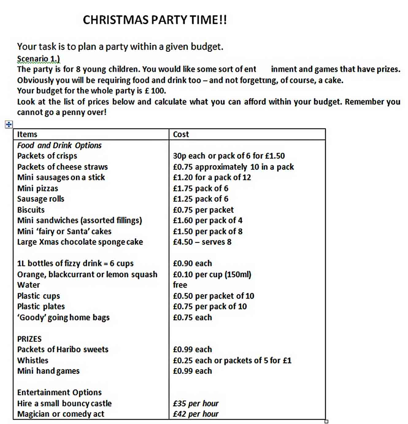 Christmas Party Budget Template sample
