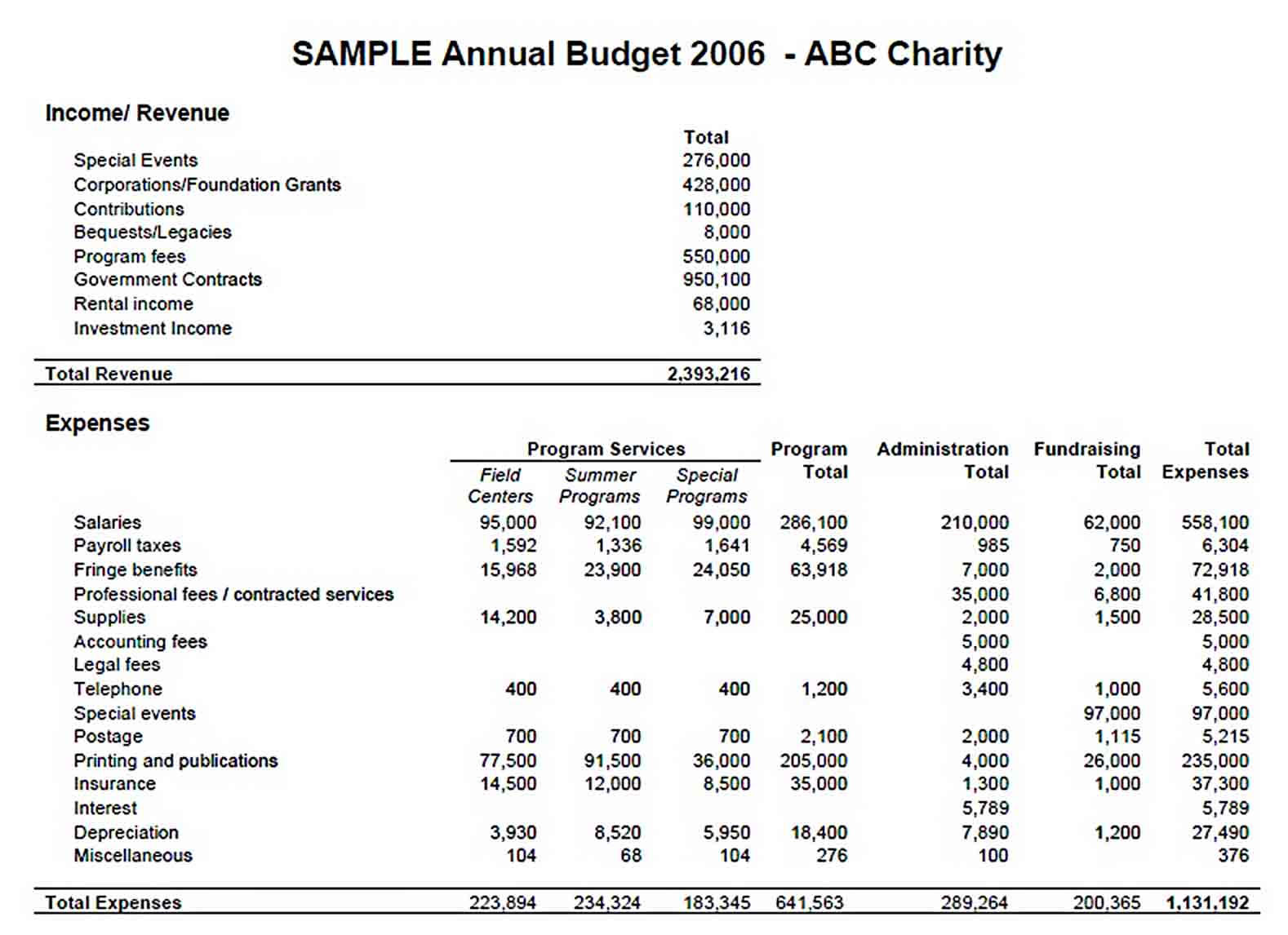 Company Annual Budget Template sample