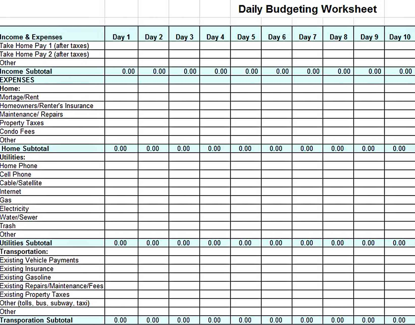 Daily Home Budget Template Excel sample
