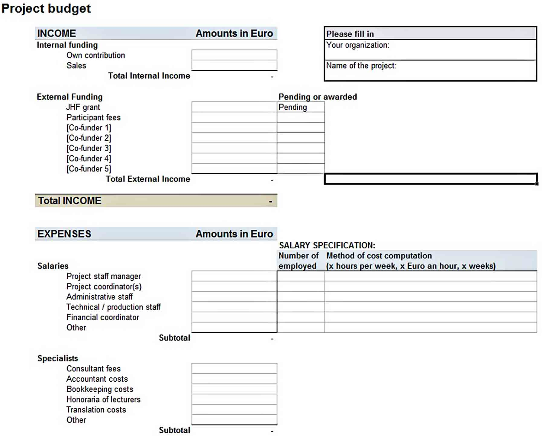 Download Basic Project Budget Template in Excel sample