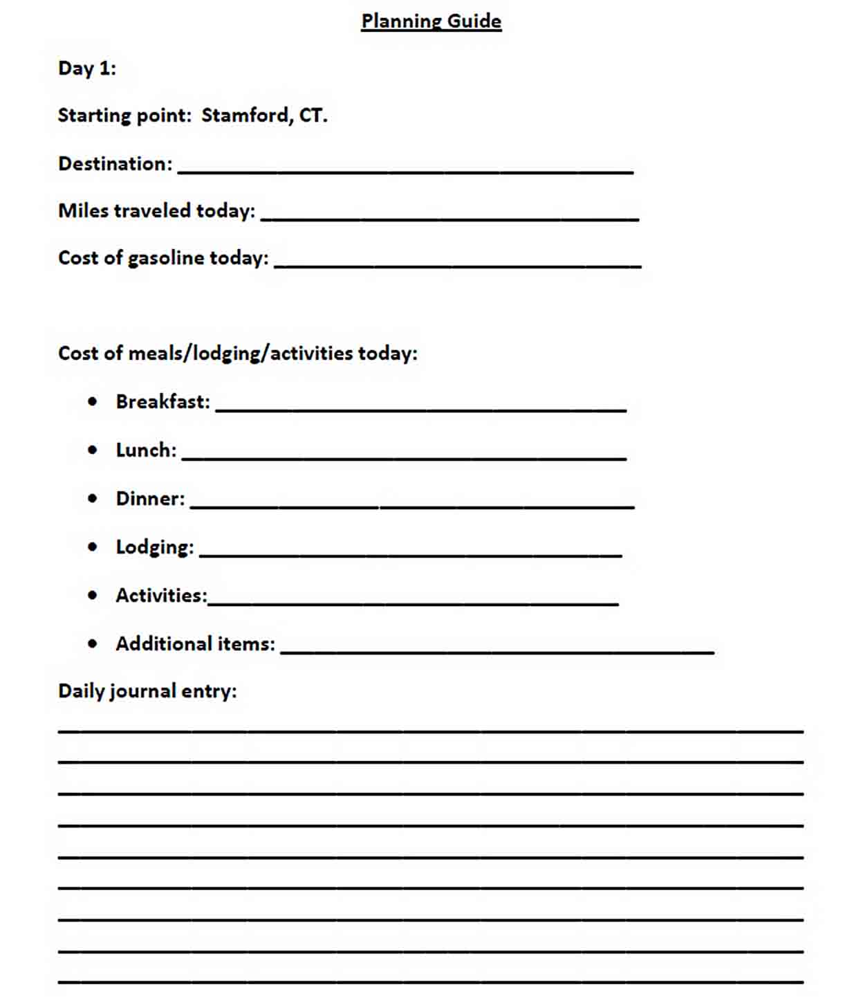 Dream Vacation Budget Template PDF Format sample