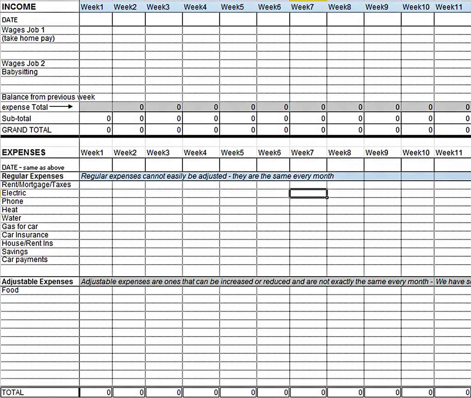 Excel Blank Home Budget Template sample