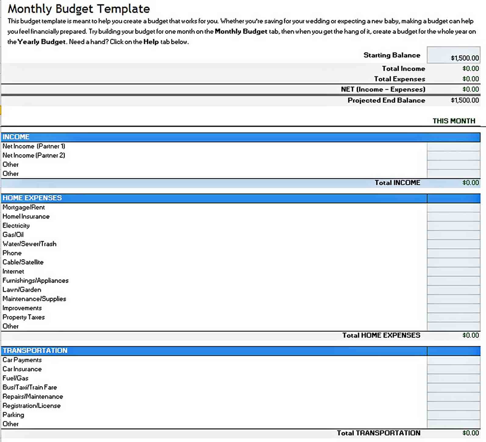 Excel Monthly Business Budget Template sample