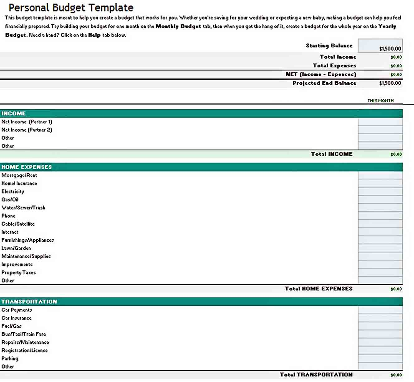 Excel Personal Budget Template sample