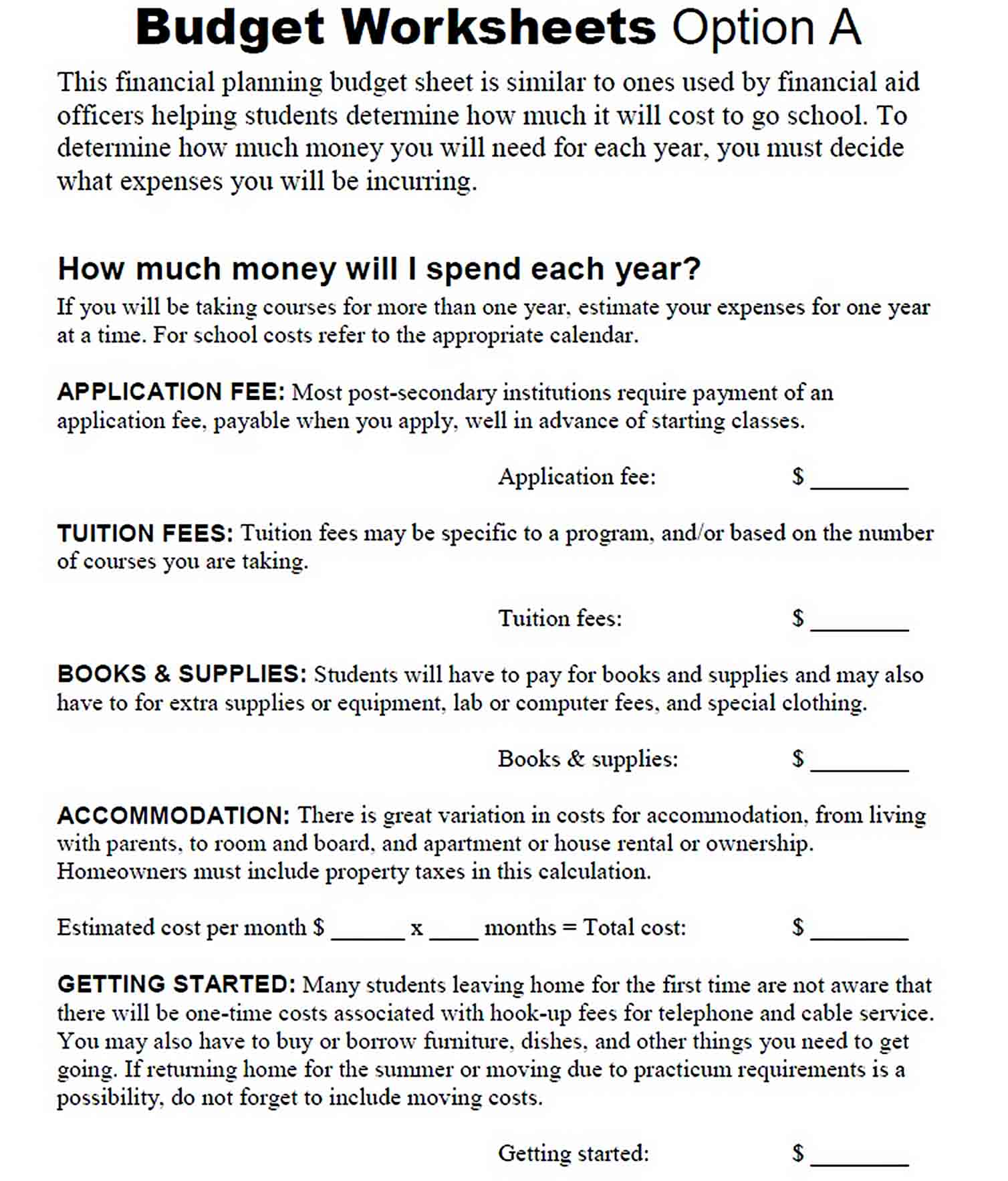 FINANCIAL PLANNING BUDGET SHEET sample