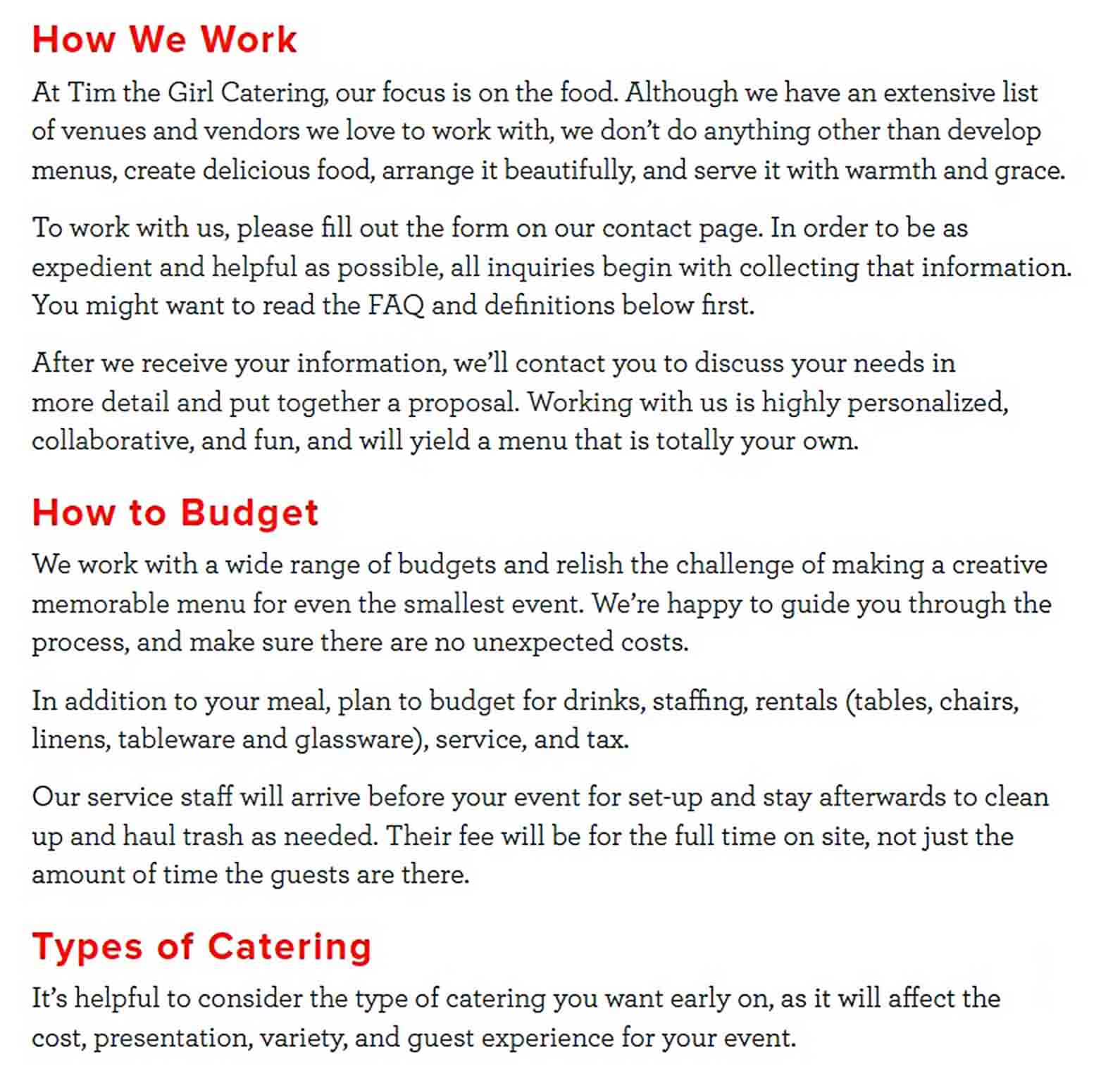 Formal Catering Budget sample