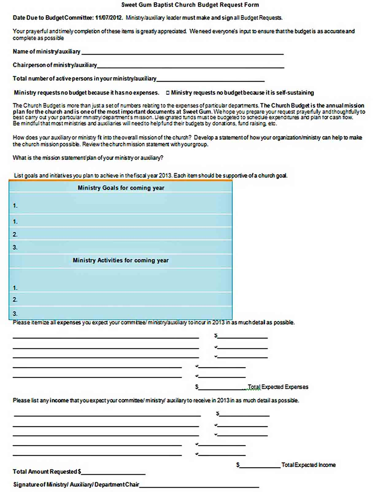 Free Baptist Church Budget Template Word Format Download sample