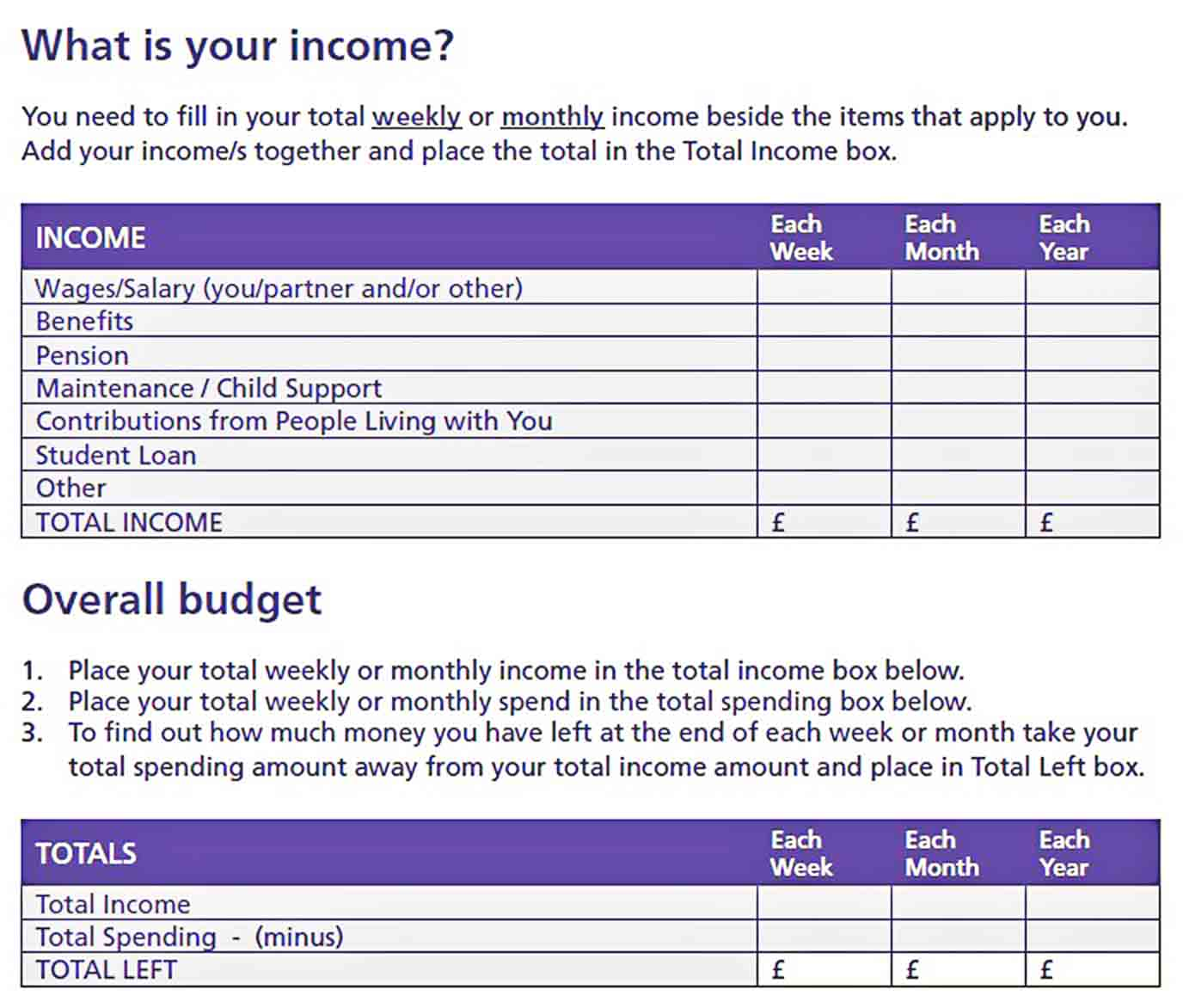 Home Budget Planner sample