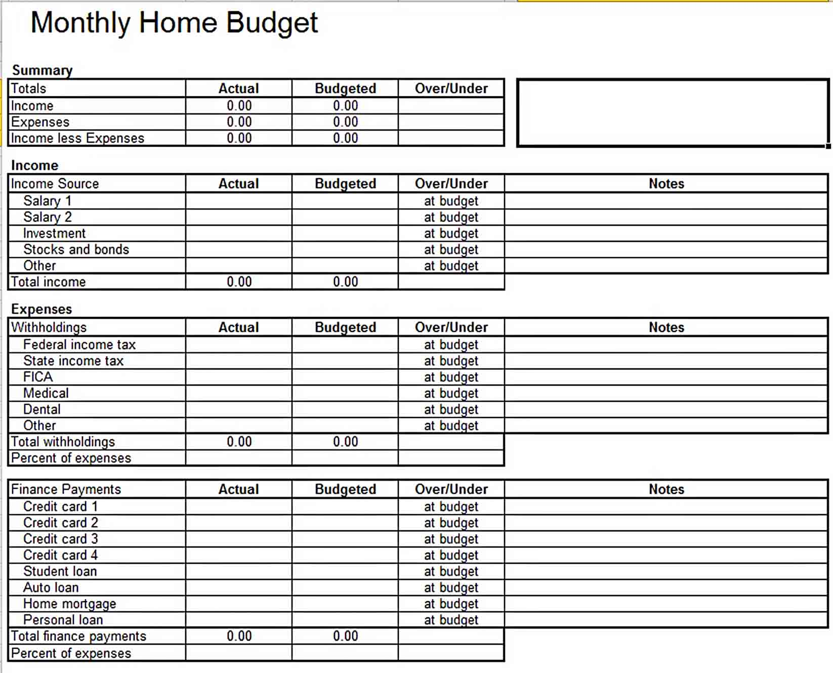 Home Monthly Budget Template Excel sample