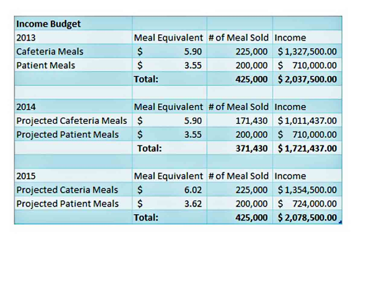 Hospital Department Budget Template sample