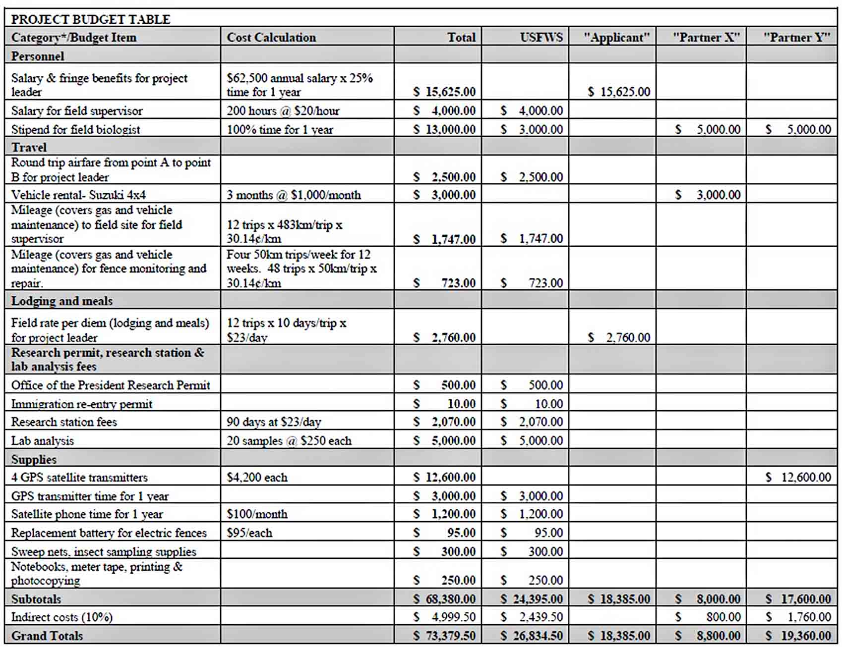 IT Project Budget Template PDF Download sample