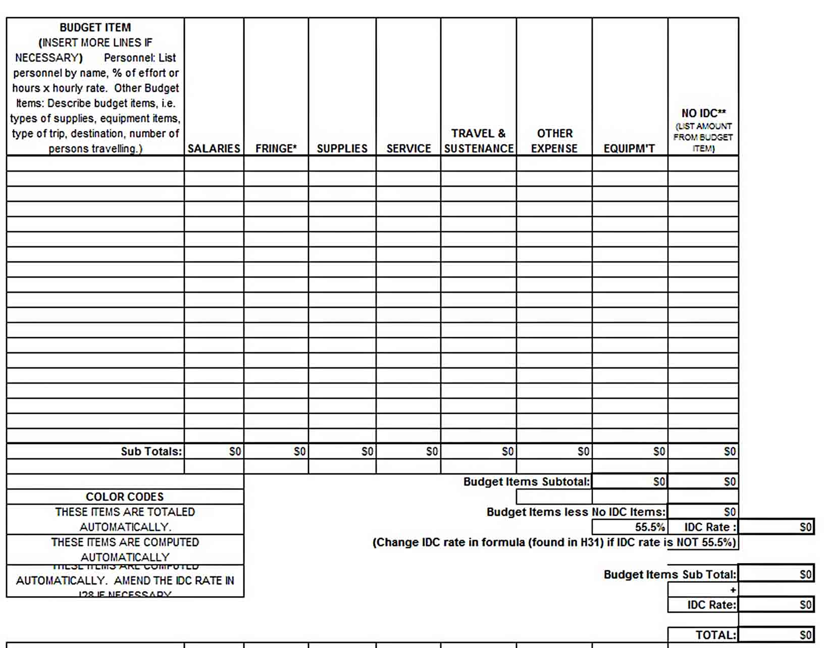 One Year Excel Budget Template sample