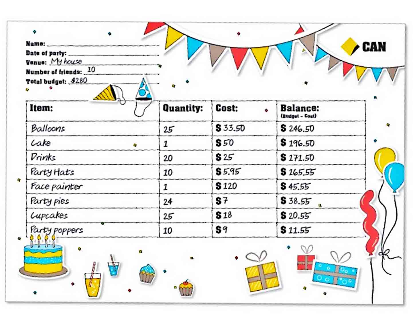 Party Planner Budget Template sample