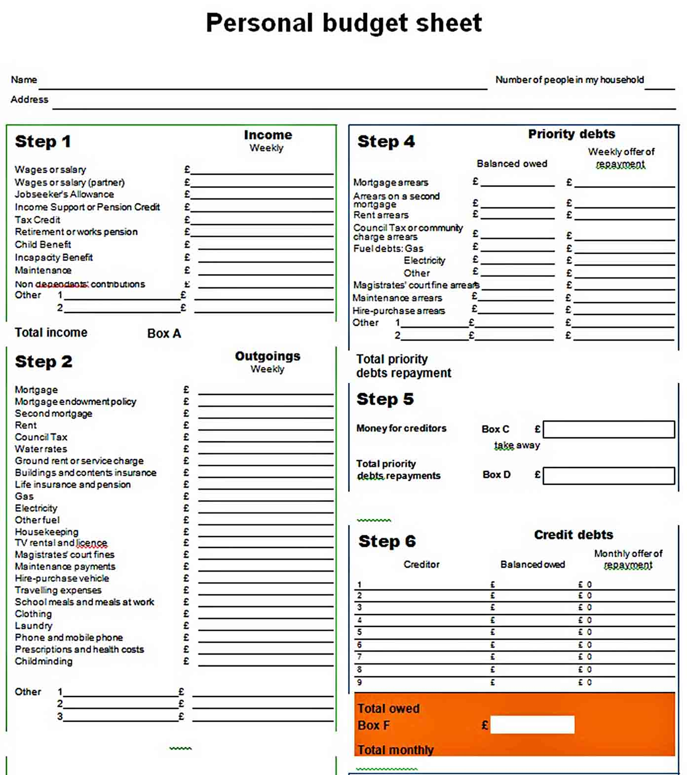 Personal Budget Sheet sample