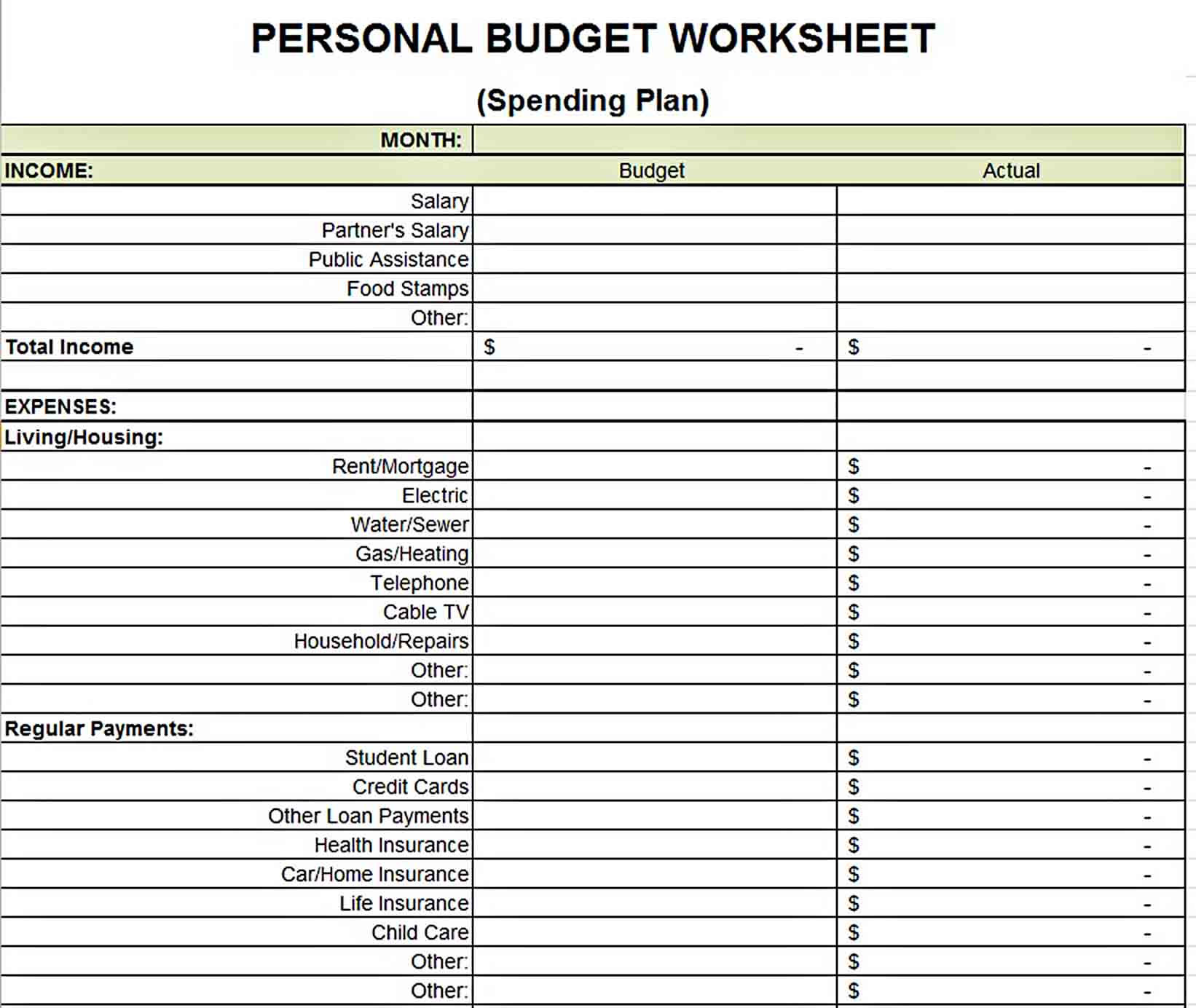 Personal Budget Weekly Expenses Worksheet Template in Excel sample