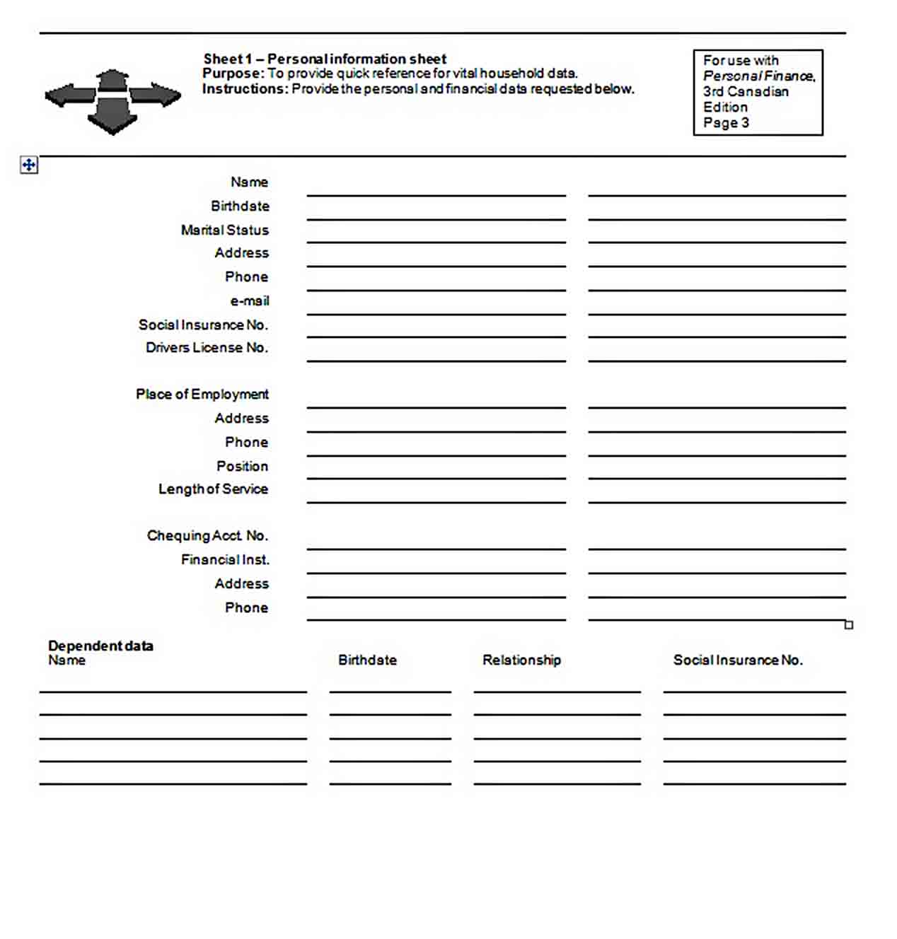 Personal Financial Planner Word Doc sample 1