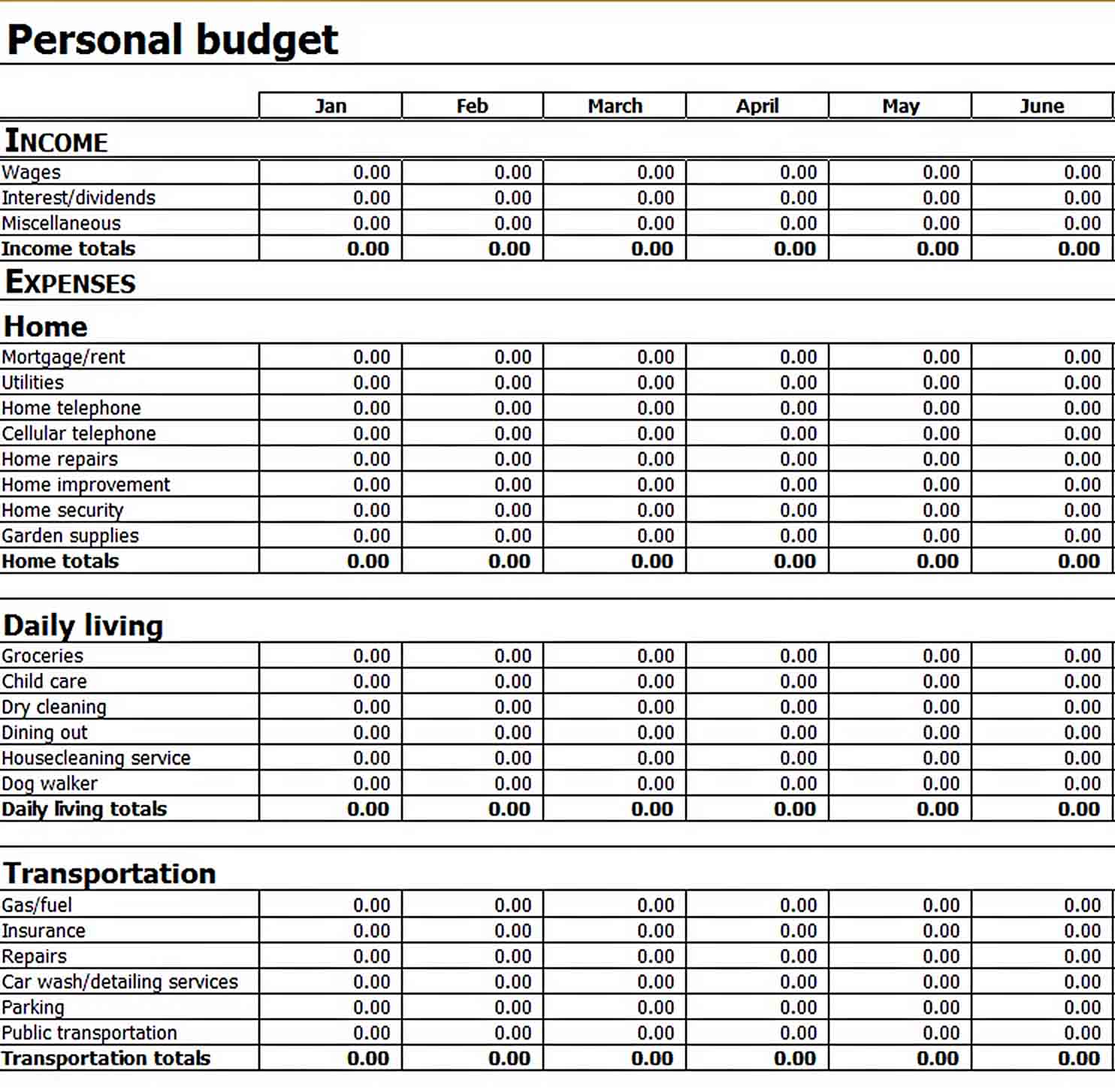 Personal Home Budget Template Excel sample