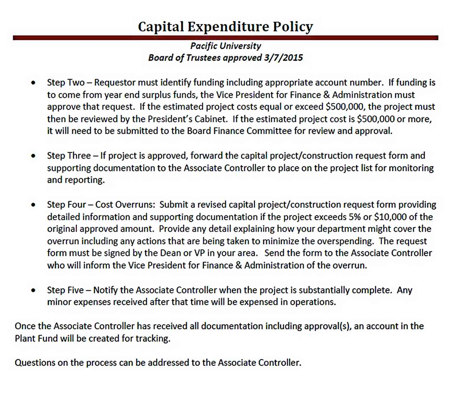 Sample Capital Expenditure Budget Policy PDF Download sample