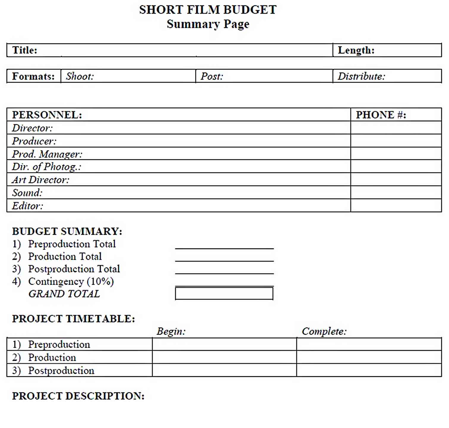 Short Film Budget Template sample 1
