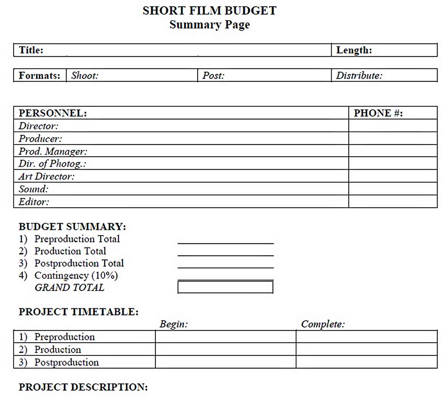 Short Film Budget Template sample