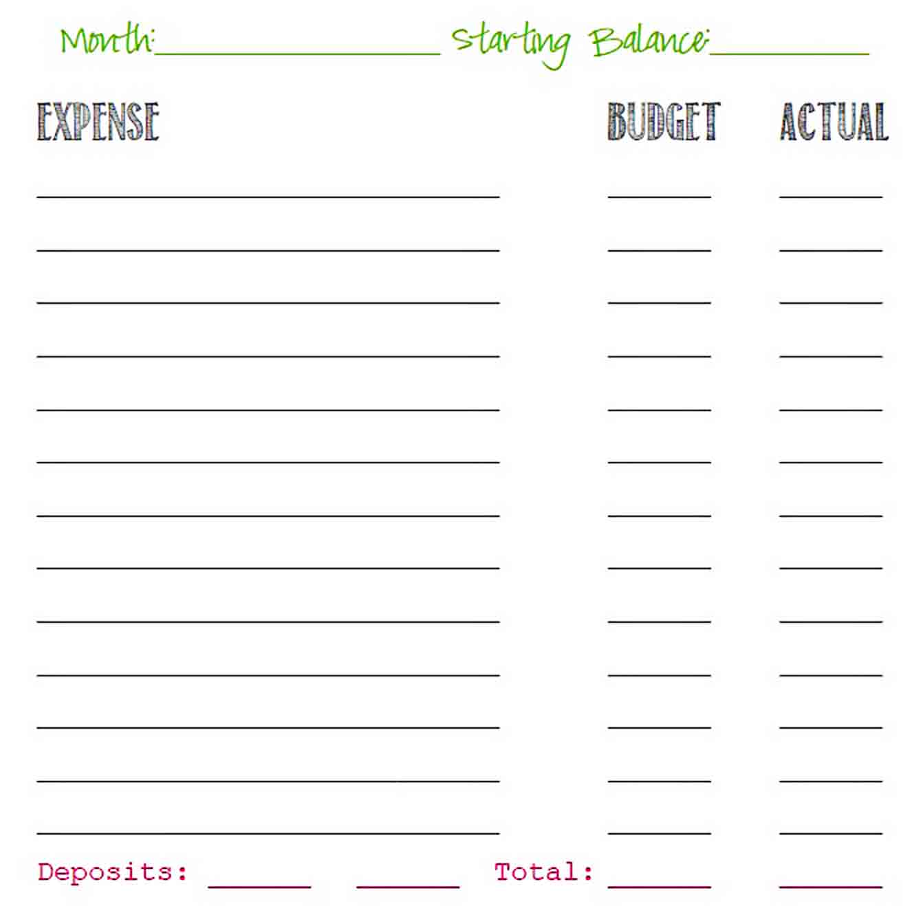 Simple Budget Template Printable sample
