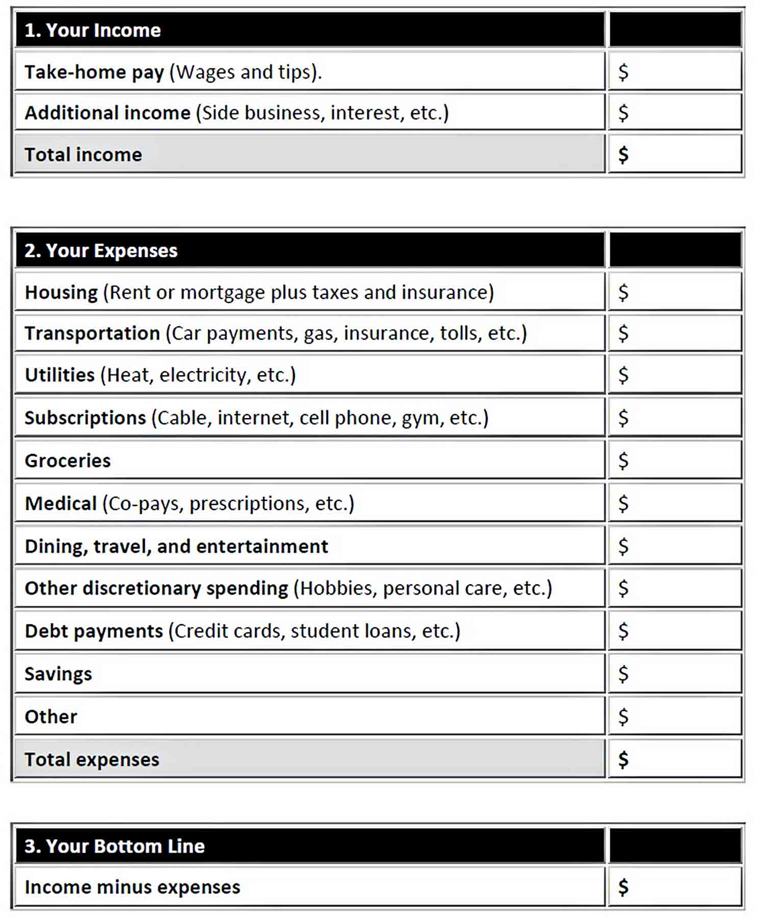 Simple Budget Worksheet PDF Download sample